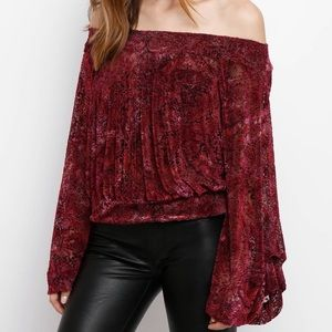 Free People off the shoulder, long sleeve top